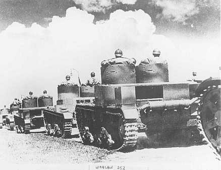 Polish tanks during a military maneuver before the German invasion that began World War II.