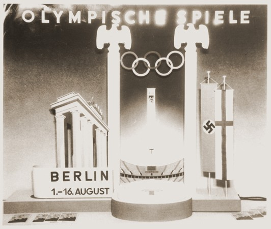 A display advertising the 11th Summer Olympic Games which were held in Berlin, Germany, 1936. [LCID: 21774]