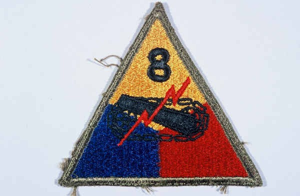 """Insignia of the 8th Armored Division. The nickname of the 8th Armored Division, the """"Thundering Herd,"""" was coined before the division ... [LCID: n05626]"""