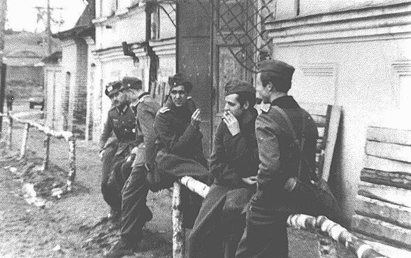 <p>Membres du mouvement de résistance de la Rose blanche pendant le service militaire obligatoire sur le front oriental. La guerre féroce qui y était menée renforça leur opposition aux nazis. Union soviétique, 1942.</p>