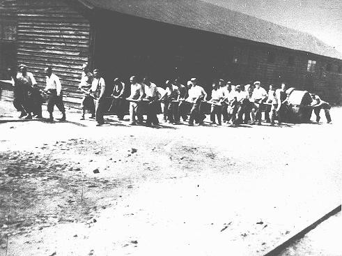 <p>Jews at forced labor in a military camp in Sarajevo. Yugoslavia, after March 1941.</p>