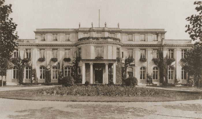 "View of the Wannsee villa. On January 20, 1942, the villa was the site of the Wannsee Conference, at which the decision to proceed with the ""Final Solution to the Jewish Question"" was announced."
