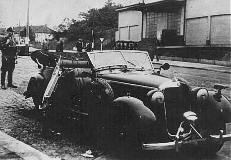 "<p>The damaged car of SS General <a href=""/narrative/10812/en"">Reinhard Heydrich</a> after an attack by Czech agents working for the British. Prague, <a href=""/narrative/7295/en"">Czechoslovakia</a>, May 27, 1942.</p>"