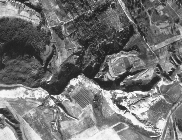 An aerial photograph of Babi Yar taken by the German air force. [LCID: 23810]
