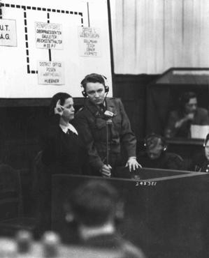 "<p>A Czech woman who witnessed the Nazi massacre of the male inhabitants of Lidice is sworn in at the <a href=""/narrative/9532"">RuSHA trial</a> in Nuremberg, case #8 of the <a href=""/narrative/9461"">Subsequent Nuremberg Proceedings</a>. Germany, October 30, 1947.</p>"
