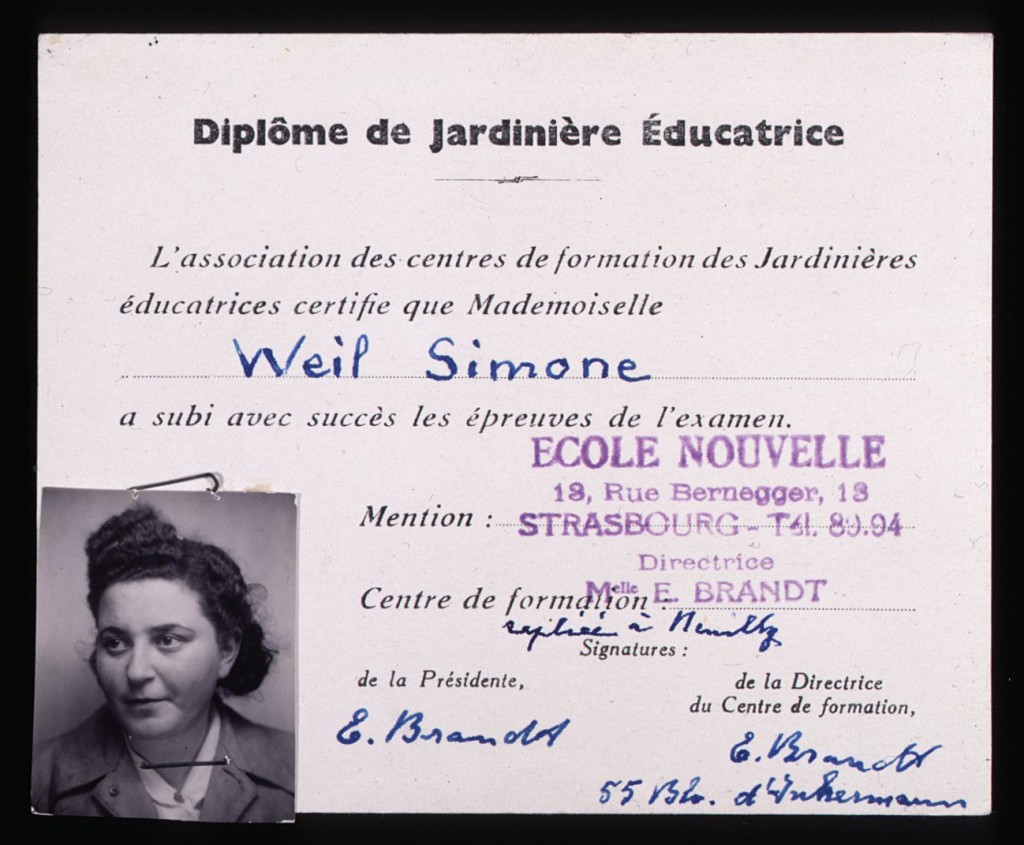 Simone Weil's kindergarten teacher certification [LCID: 19982dct]