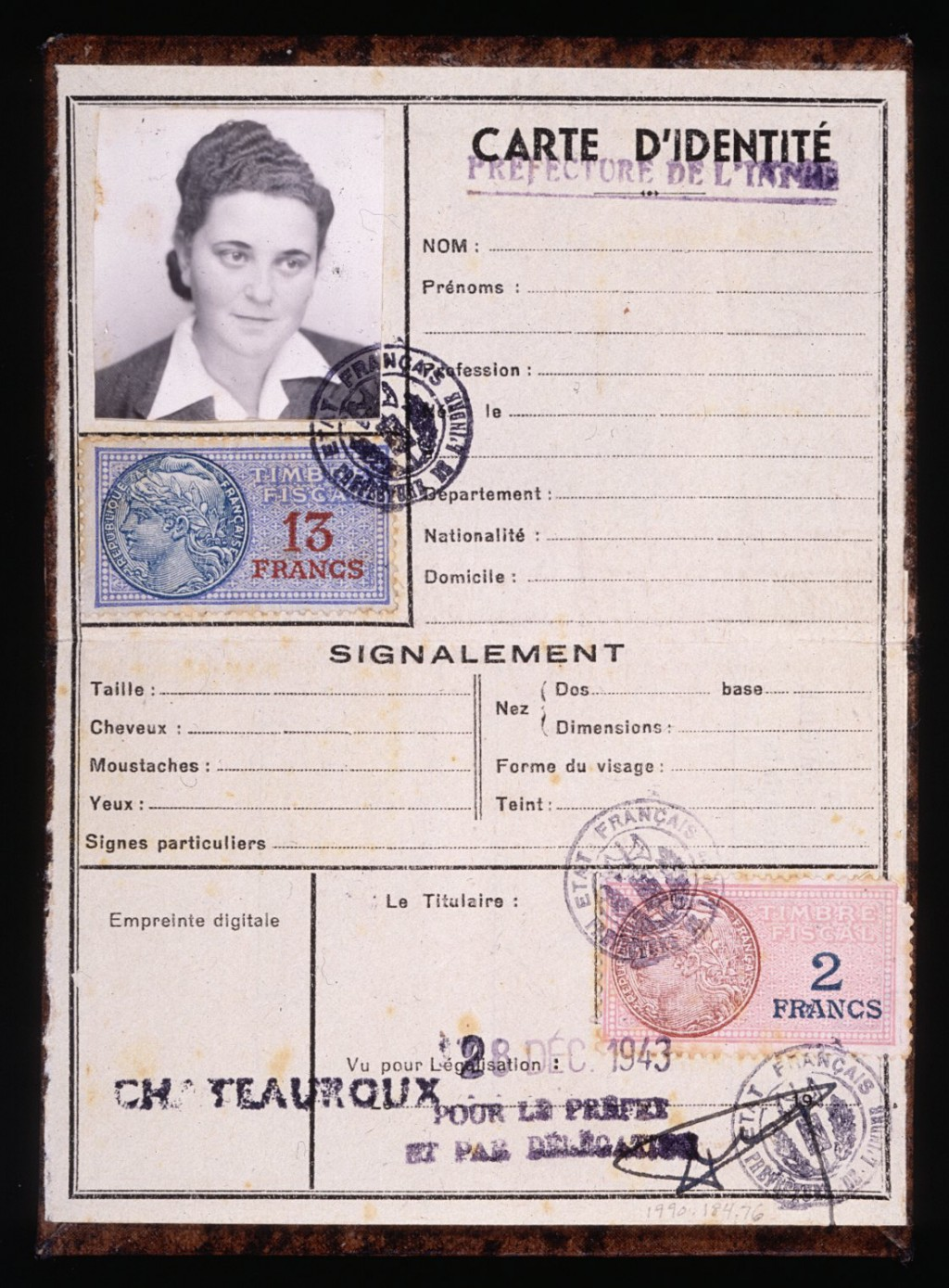 "<p>Simone Weil kept this blank identification card bearing her picture in case her cover as ""Simone Werlin"" were blown and she needed to establish a new false identity. Both resistance workers and sympathetic government employees provided her the necessary stamps and signatures. Such forged documents assisted Weil in her work rescuing Jewish children as a member of the relief and rescue organization Oeuvre de Secours aux Enfants (Children's Aid Society; OSE).</p>"