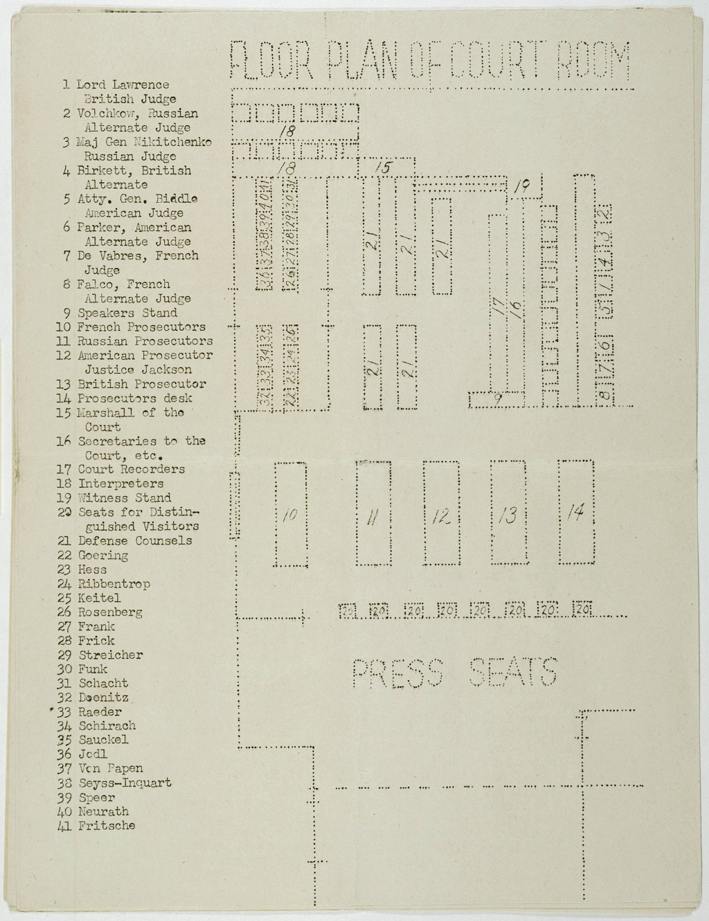 <p>Floor plan of the courtroom. The plan appeared in a mimeographed program booklet distributed at the International Military Tribunal at Nuremberg. 1945.</p>