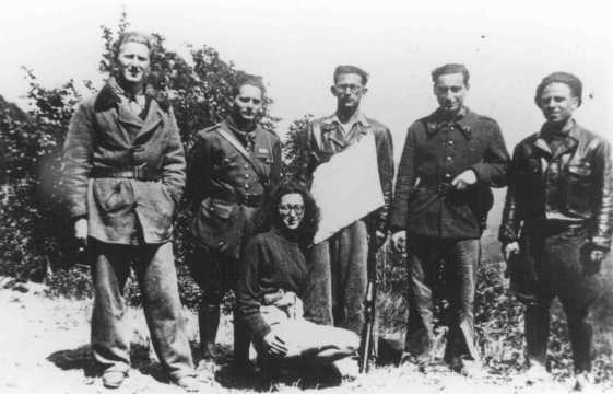 <p>Members of a Jewish resistance group (Organisation Juive de Combat). Espinassier, France, wartime.</p>