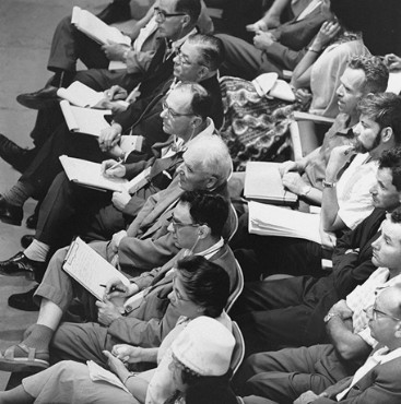 "<p>Many journalists covered the <a href=""/narrative/3359"">trial of Adolf Eichmann</a> in Jerusalem. May 30, 1961.</p>"