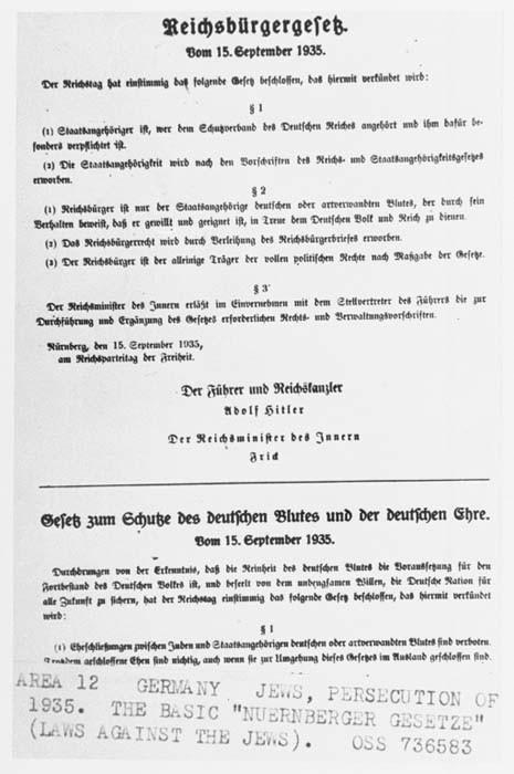 <p>ニュルンベルク法(帝国市民法およびドイツ人の血統と名誉を守る法律)の例。1935年9月15日、ドイツ。</p>