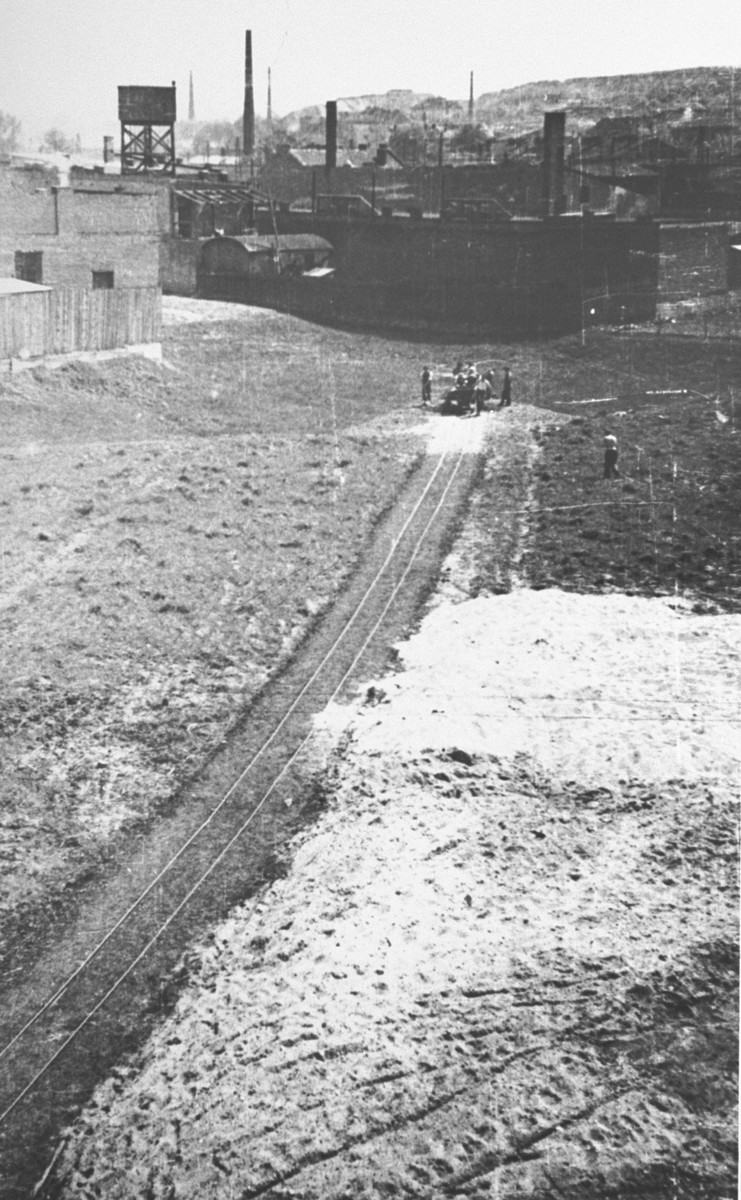 <p>View during the construction of Oskar Schindler's armaments factory in Bruennlitz. This photograph shows the construction of a rail line to the factory. Czechoslovakia, October 1944.</p>