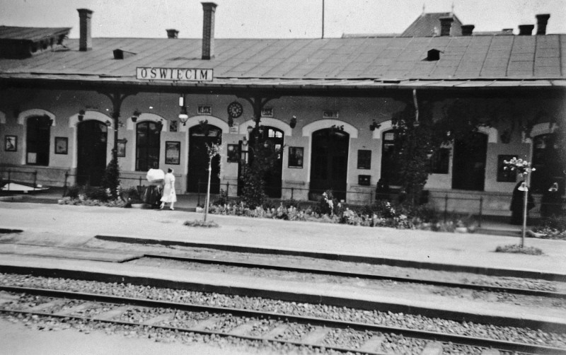 View of the train station in Oswiecim, Poland, before the war. [LCID: 69437]