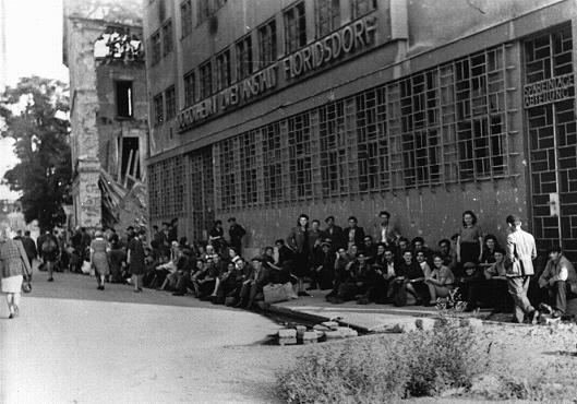 <p>يهود بولنديون لاجئون يصلون الى فيينا بعد الحرب. وسيتم إيواؤهم في محتشد المشردين داخليا بمستشفى روثشيلد. ويظهر في خلفية الصورة مبنى مصاب باضرار كبيرة من جراء القصف. فيينا، النمسا 1946.</p>