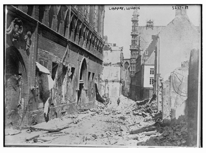 """<p>Ruins of the library in Louvain, destroyed during <a href=""""/narrative/28"""">World War I</a>. Louvain, Belgium, ca. 1914–1915</p>"""