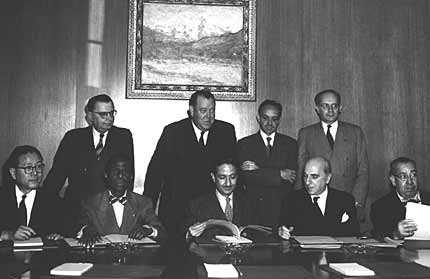 Representatives of four states who ratified the Genocide Convention on October 14, 1950: (seated, left to right) Dr. [LCID: lemkin3]