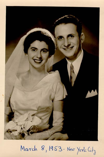 Wedding photo of Regina and Victor. New York City, March 8, 1953. [LCID: gelb30]