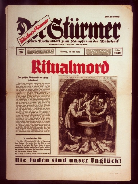 <p>Front page of the most popular issue ever of the Nazi publication, Der Stürmer, with a reprint of a medieval depiction of a purported ritual murder committed by Jews.</p>