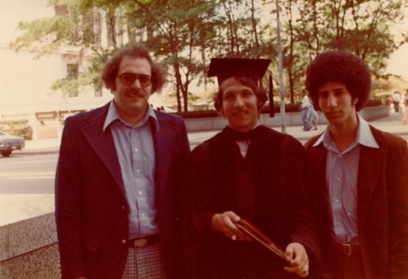 <p>Aron and Lisa's three sons (Howard, Gordon, and Daniel) at the middle son's graduation from the University of Wisconsin. Madison, Wisconsin, ca. 1972.</p>