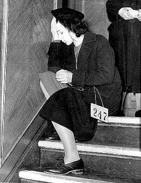 Jewish refugee girl from Vienna, Austria, upon arrival in Harwich. [LCID: 69285]