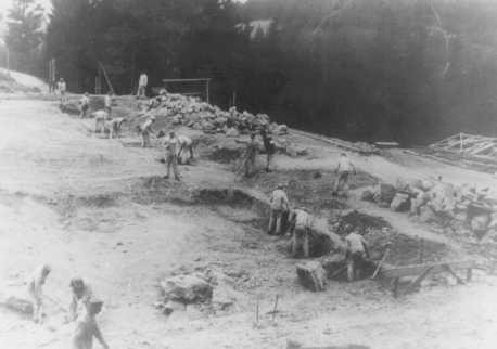 <p>Prisoners at forced labor on a construction project in the Flossenbürg concentration camp. Flossenbürg, Germany, date uncertain.</p>
