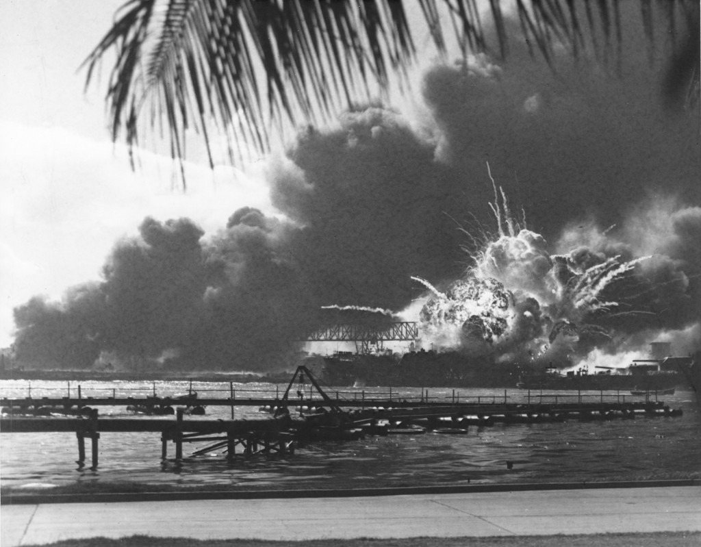 Scene during the Japanese attack on Pearl Harbor on December 7, 1941.