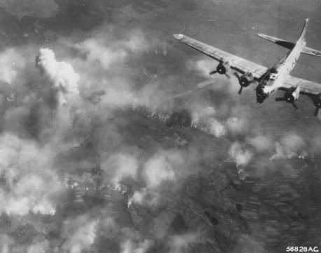 "<p><a href=""/narrative/11565"">Bombing raid</a> over the I.G. Farben Buna plant. Poland, August 1944.</p>"