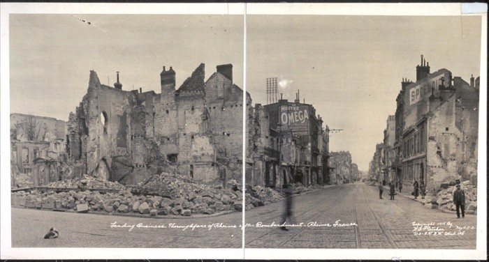 """<p>This 1919 photograph shows destruction in the leading business thoroughfare of Rheims after bombardment during <a href=""""/narrative/28"""">World War I</a>. Rheims, France, 1919.</p>"""