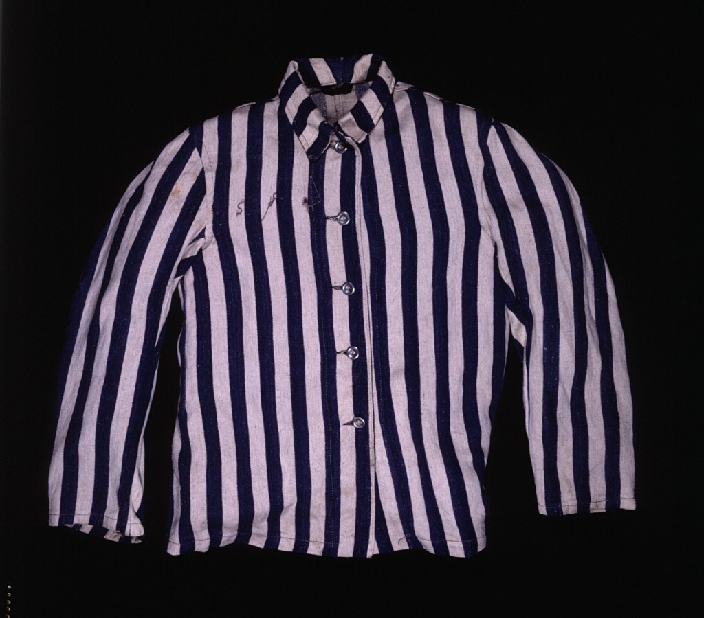 "<p>Abraham Lewent, who had been sent from the <a href=""/narrative/2014/en"">Warsaw</a> ghetto to <a href=""/narrative/3168/en"">Majdanek</a> and later transferred to several concentration camps in Germany, wore this jacket as part of the uniform issued to him upon his arrival in the Buchenwald concentration camp in 1944.</p>"