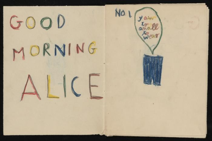 """""""To Alice from Ervin Bogner,"""" handmade comic book, approximately 1945-1957"""