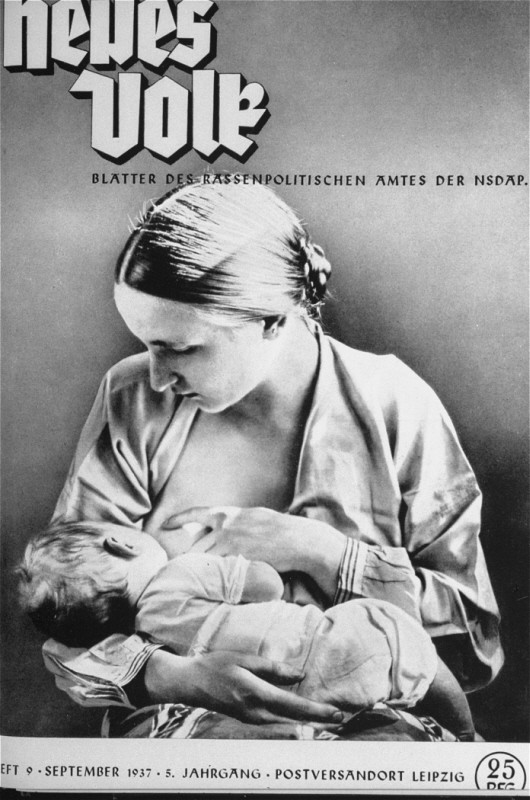 "The cover of a Nazi publication on race, ""Neues Volk"" (New People), portrays motherhood with this ideal image of an ""Aryan"" mother ... [LCID: 74853]"