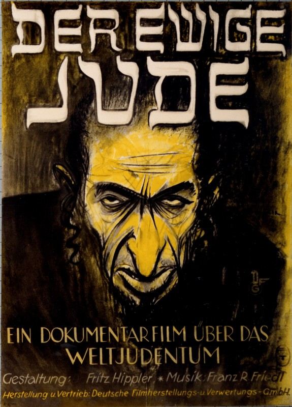 """Advertising poster for the antisemitic film, """"Der ewige Jude"""" (The Eternal Jew), directed by Fritz Hippler. [LCID: 15222]"""