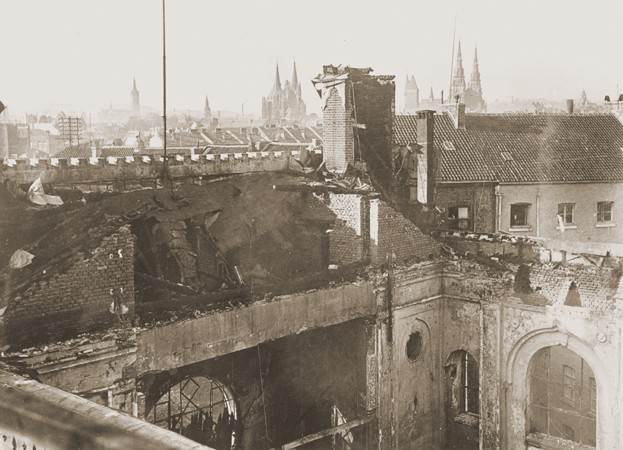 View of the old synagogue in Aachen after its destruction on Kristallnacht. [LCID: 29820]