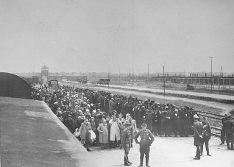 <p>La rampe à Auschwitz-Birkenau, mai 1944.</p>