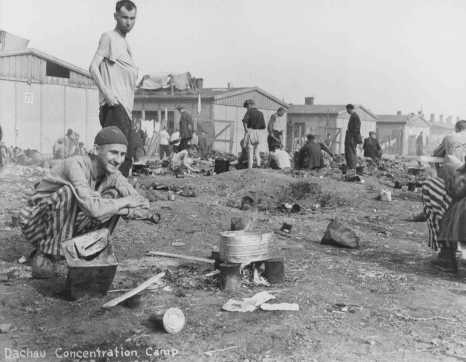 Camp survivors after liberation. Dachau, Germany, after April 29, 1945. [LCID: 0481]