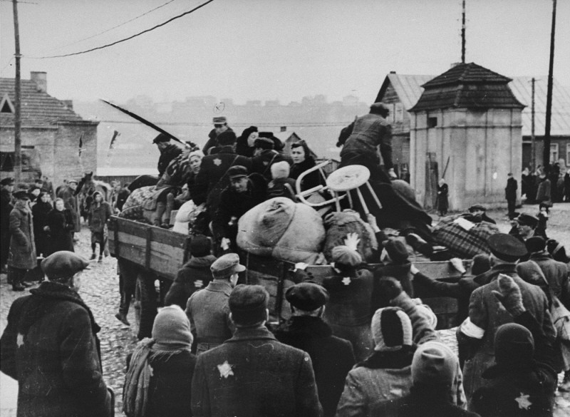 "<p>Deportation of Jews from the <a href=""/narrative/3182"">Kovno</a> ghetto to a work camp. <a href=""/narrative/5762"">Lithuania</a>, 1942.</p>"