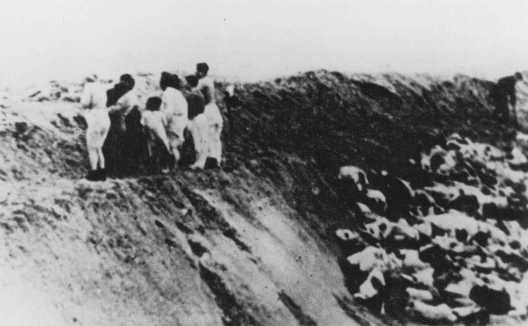 <p>Nazis and Latvian militia men ordered Jews to undress, then shot them in the trenches. Near Liepaja, Latvia, December 1941.</p>