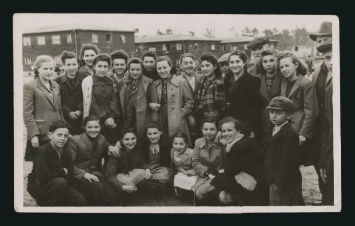 Group portrait of teenagers in the Feldafing displaced persons camp.