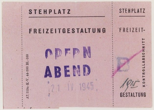 <p>Standing room ticket for an opera performed on April 21, 1945, in the Theresienstadt ghetto.</p>