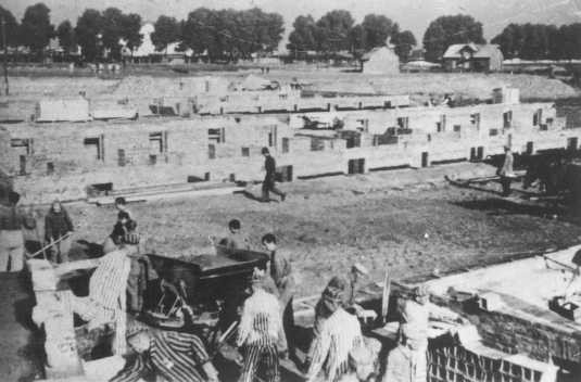 Prisoners at forced labor building an extension to the camp. [LCID: 85016]