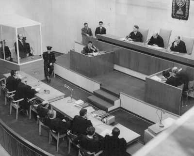"<p><a href=""/narrative/3359"">Defendant Adolf Eichmann</a> stands as he is sentenced to death by the court. The execution of Eichmann remains the only time the State of Israel has enacted a death sentence. Jerusalem, Israel, December 15, 1961.</p>"