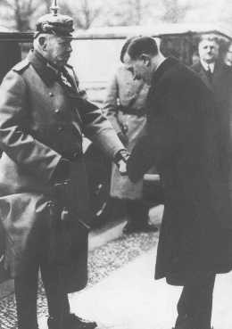 <p>Adolf Hitler, the newly appointed chancellor, greets German president Paul von Hindenburg. Berlin, Germany, January 30, 1933.</p>