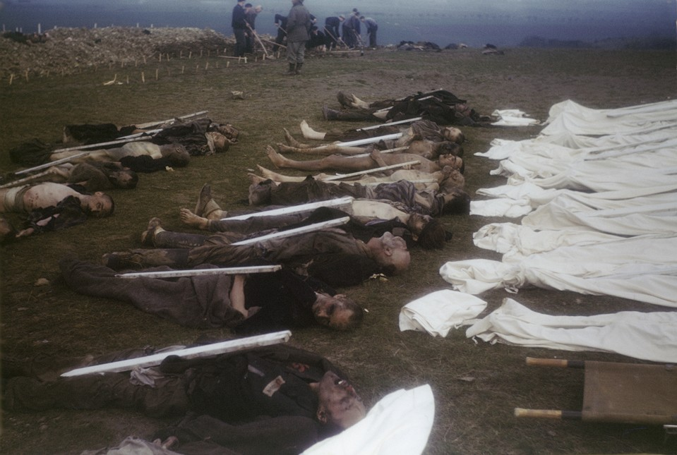The bodies of former prisoners are laid out in rows in preparation for burial in the Ohrdruf concentration camp. [LCID: 60630]