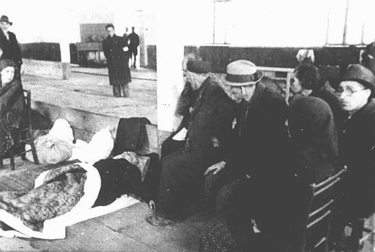 """Jews from Bulgarian-occupied Macedonia interned at the """"Monopol"""" tobacco factory, used as a transit camp, before deportation to the Treblinka killing center."""