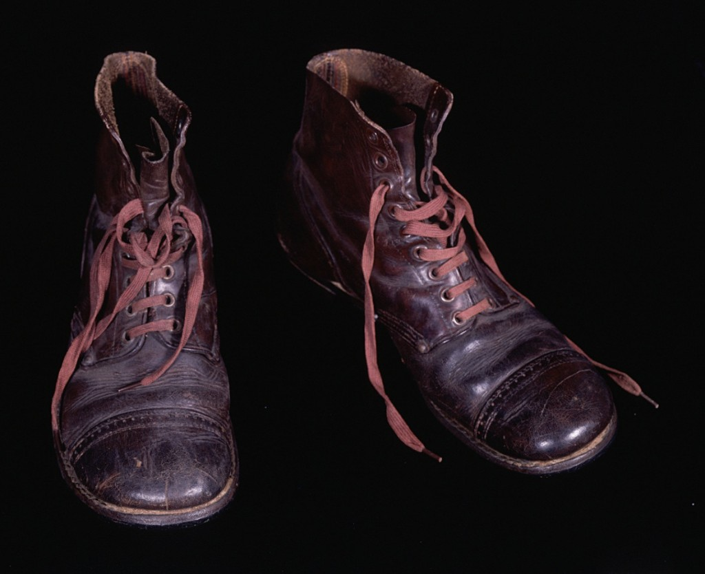 <p>Survivors of the camps lacked even basic possessions, such as footwear. The Red Cross issued these United States Army boots to Jacob Polak in June or July 1945 after his repatriation to the Netherlands.</p>
