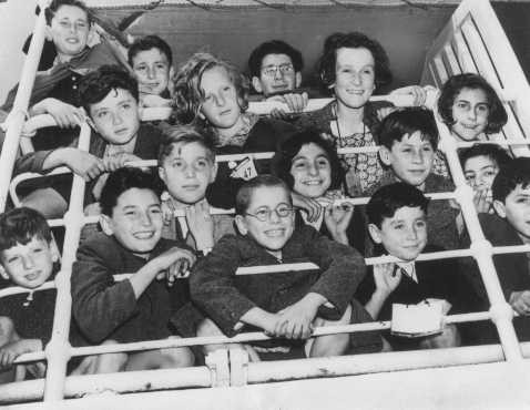 A group of Jewish refugee children on board a Portuguese ship.
