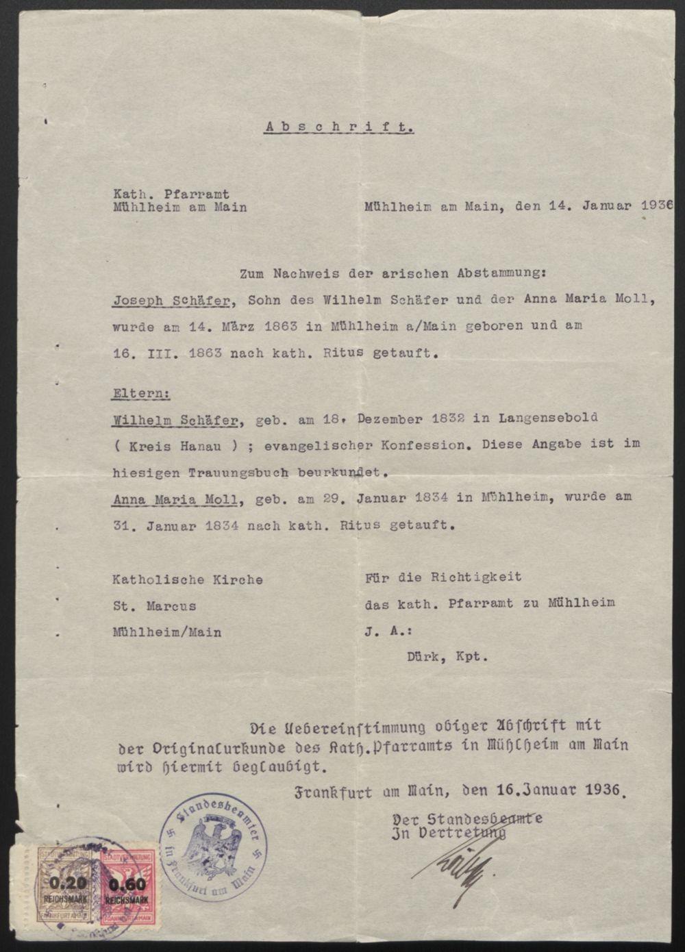"""Certificate of """"Aryan"""" Descent"""