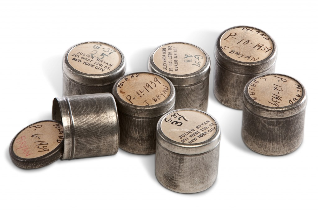 <p>Julien Bryan stored his still photo negatives from Nazi Germany 1937 and Poland 1939 in these carefully marked metal canisters.</p>