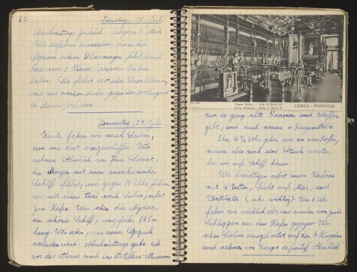 Hans Vogel's diary entry on boarding the refugee ship Nyassa