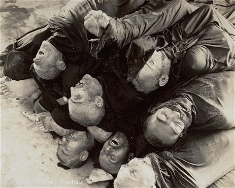 """<p>Close-up of corpses piled in the crematorium mortuary in the newly liberated Dachau concentration camp. Dachau, Germany, May 1945.</p> <p>This image is among the<a href=""""/narrative/8334/en"""">commonly reproduced and distributed</a>, and often extremely graphic, images of liberation.These photographs provided powerful documentation of the crimes of the Nazi era.</p>"""